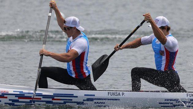 Petr Fuksa a Martin Fuksa na olympijské trati v Tokiu.