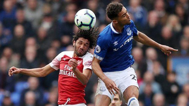 Mohamed Elneny z Arsenalu a Dominic Calvert-Lewin z Evertonu.