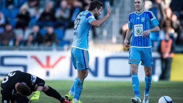 Útočník Mladé Boleslavi Milan Baroš oslavuje gól na 1:0 proti Baníku Ostrava.