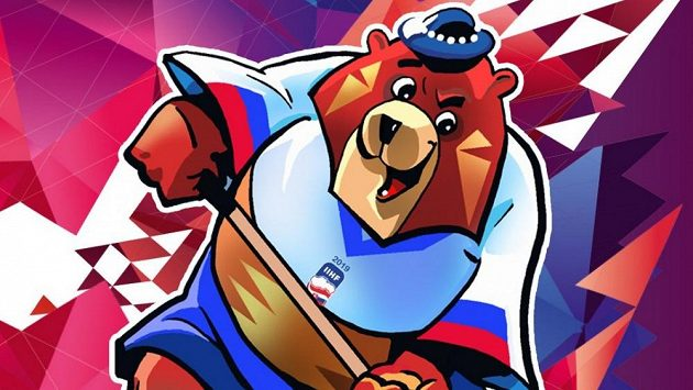 Medvěd Macejko - maskot hokejového MS na Slovensku.