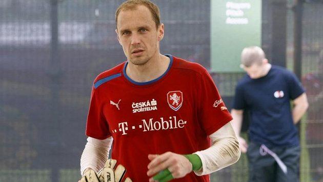 Gólman Jaroslav Drobný na tréninku české reprezentace.