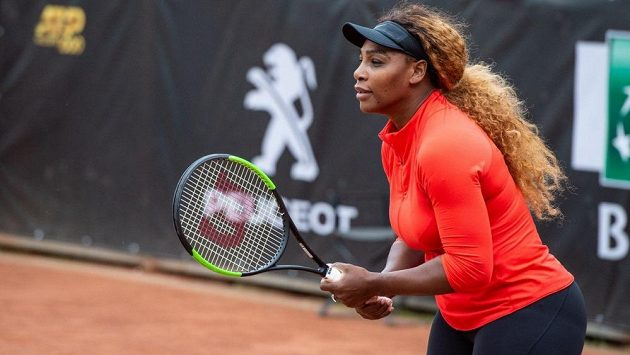 Serena Williamsová při tréninku.