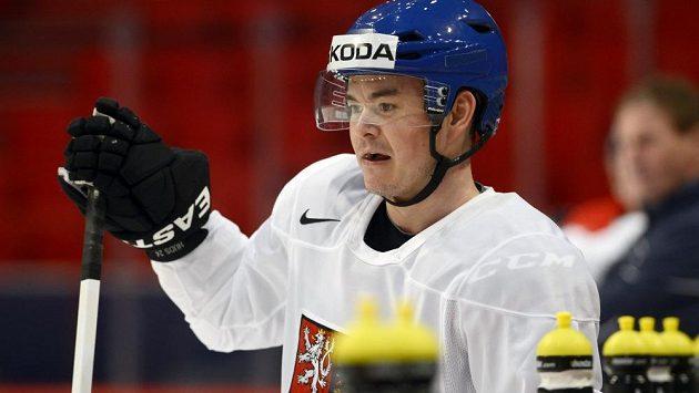 Útočník Jiří Hudler v hale Globen ve Stockholmu na prvním tréninku české hokejové reprezentace po příletu do dějiště hokejového mistrovství světa.