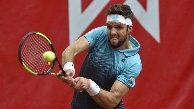 Jiří Veselý (na snímku) na tenisovém challengeru Moneta Czech Open 2018 v Prostějově.