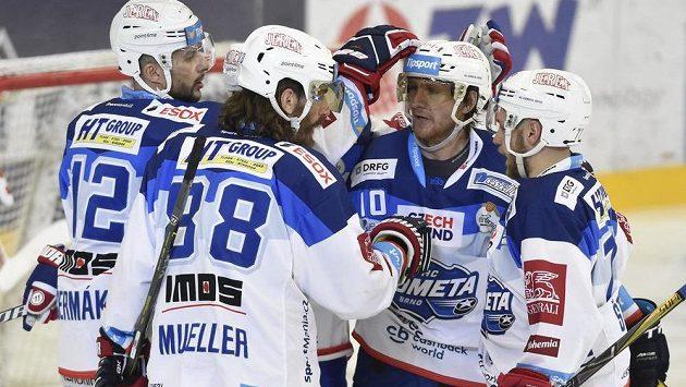 Gólová radost brněnských hokejistů.