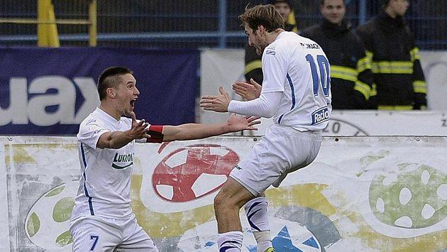 Lukáš Železník (vlevo) se raduje s Tomášem Poznarem z gólu - ilustrační foto.