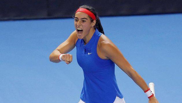 Radost Francouzky Caroline Garciaové ve finále Fed Cupu.