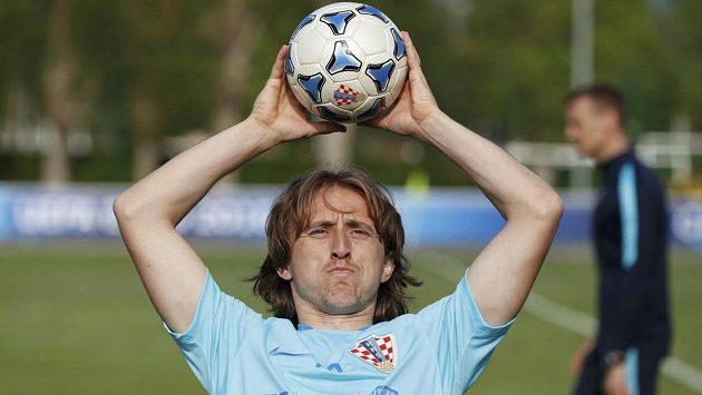 Záložník Luka Modrič na tréninku chorvatské reprezentace.