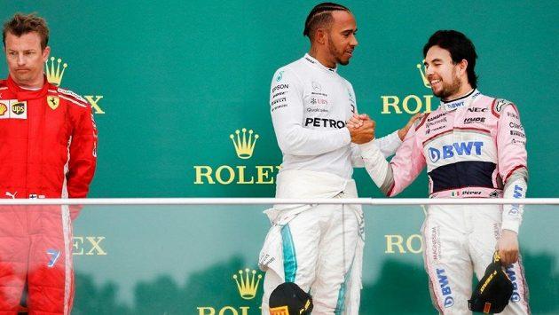 V Ázerbájdžánu dojel třetí Sergio Pérez (vpravo) z Force India.