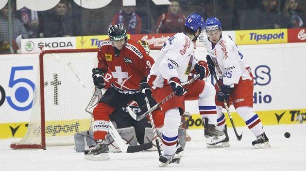 Ilustrační snímek z utkání švýcarských hokejistů s Českem.