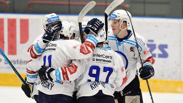 Hráči Plzně se radují z branky - ilustrační foto.