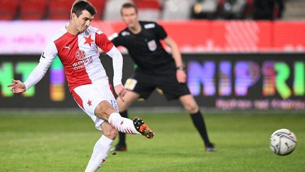 Fotbalista Slavie Ondřej Kúdela proměnil penaltu v duelu 15. kola Fortuna ligy se Sigmou Olomouc.