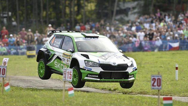 Česká posádka Jan Kopecký a Pavel Dresler s vozem Škoda Fabia R5 Evo při Barum Czech rallye Zlín.