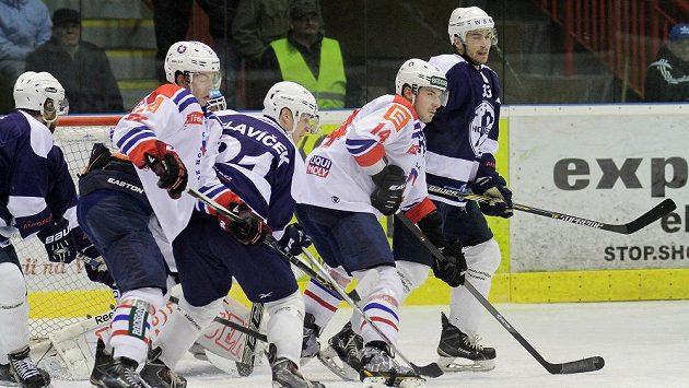 Momentka z utkání 35. kola WSM ligy mezi hokejisty Třebíče a Mostu.
