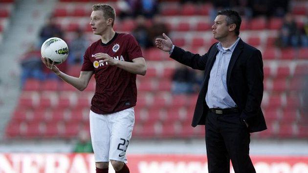 Trenér fotbalistů Příbrami David Vavruška a hráč Sparty Ladislav Krejčí