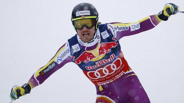 Norway Kjetil Jansrud se radoval z vítězství.