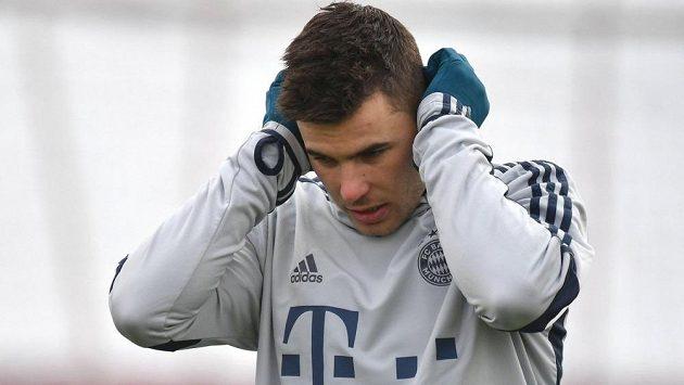 Francouzský mistr světa Lucas Hernández na tréninku Bayernu.