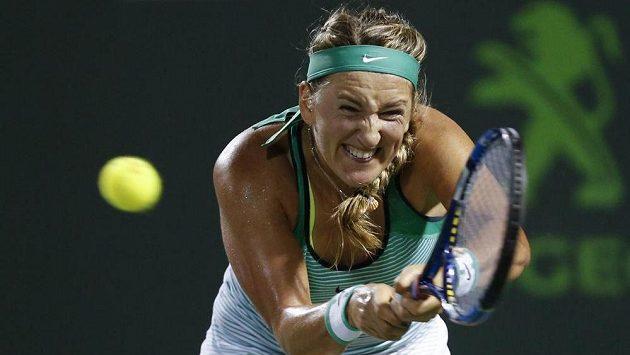 Victoria Azarenková slaví na turnaji v Miami triumf.