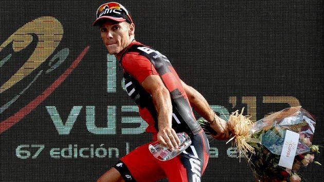Španělský cyklista Joaquim Rodríguez je na pódiu během letošní Vuelty téměř jako doma