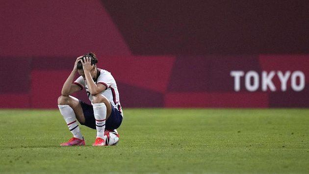 Fotbalistka Spojených států Carli Lloydová po prohraném semifinále olympijských her.