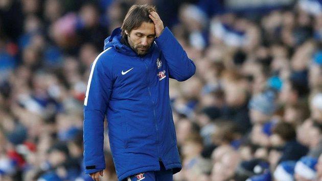 Zklamaný trenér Chelsea Antonio Conte po bezbrankové remíze s Evertonem.