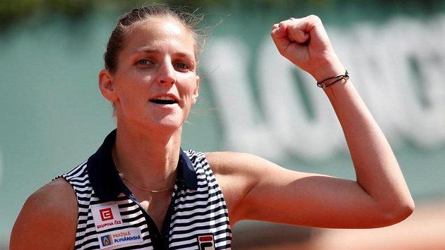 Radost Karolíny Plíškové po postupu do semifinále French Open.
