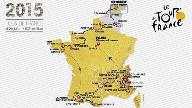 Trasa 102. ročníku Tour de France