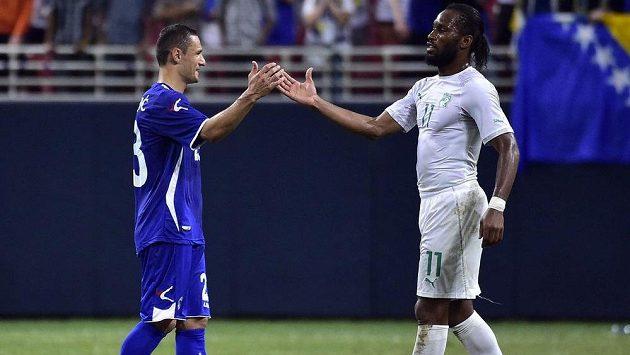 Bosenský fotbalista Sejad Salihovič (vlevo) se zdraví s útočníkem Pobřeží slonoviny Didierem Drogbou.