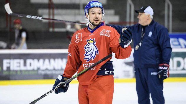 Jan Kovář během tréninku hokejové reprezentace.