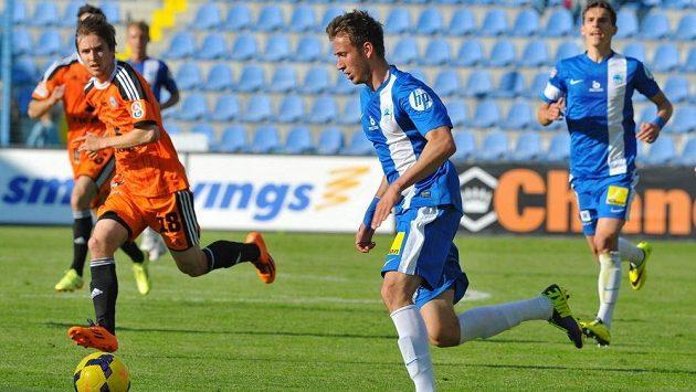 Liberecký Denis Frimmel při svém prvoligovém debutu proti Olomouci.