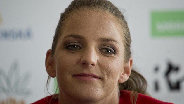 Tenistka Karolína Plíšková na tiskové konferenci.