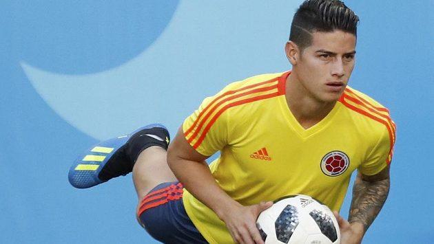 Hvězdný James Rodríguez během tréninku kolumbijského národního týmu.