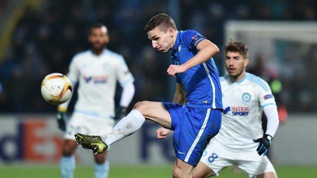 David Pavelka z Liberce při utkání s Marseille.
