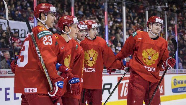 Gólová radost ruských mladíků v utkání o bronz na MS hokejistů do 20 let.