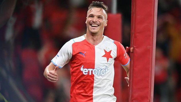 Fotalový útočník Slavie Stanislav Tecl se trefil v lize do sítě Slovácka.