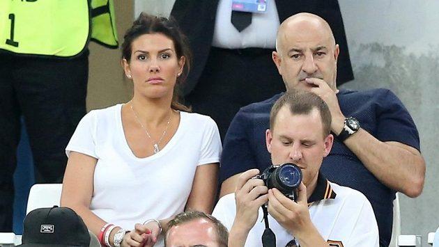 Manželka Jamieho Vardyho Rebekah Vardyová v hledišti při zápase EURO mezi Anglií a Ruskem.