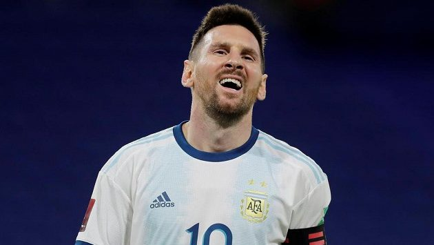 Argentinec Lionel Messi v dresu argentinské reprezentace