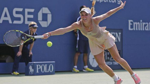 Dánka Caroline Wozniacká v semifinále US Open s Číňankou Pcheng Šuaj.