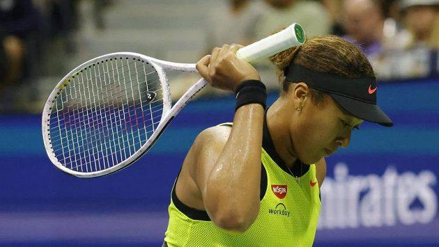 Emoce Naomi Ósakaové ve třetím kole US Open, po němž se s turnajem loučí.