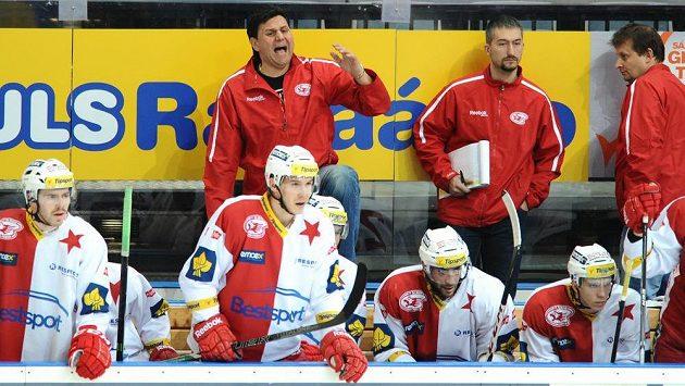 Trenér Slavie Praha Vladimír Růžička během utkání s Litvínovem.