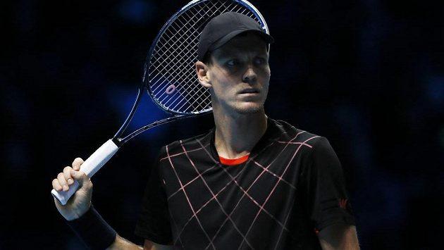 Rozmrzelý Tomáš Berdych po prohře na Turnaji mistrů.