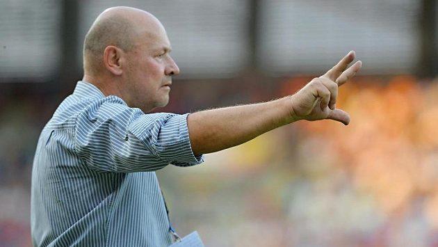 Trenér Plzně Miroslav Koubek během duelu proti Slovácku.