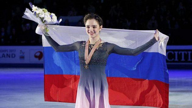 Krasobruslařka Jevgenija Medveděvová po triumfu na MS.