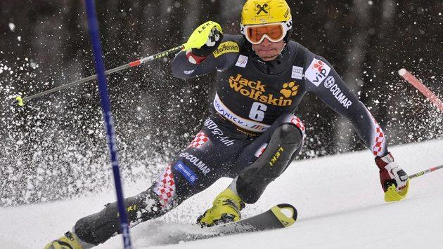 Ivica Kostelič na trati slaomu Světového poháru v Kranjské Goře.
