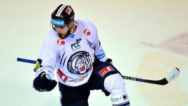 Liberecký útočník Michal Birner se raduje z gólu proti Mladé Boleslavi.