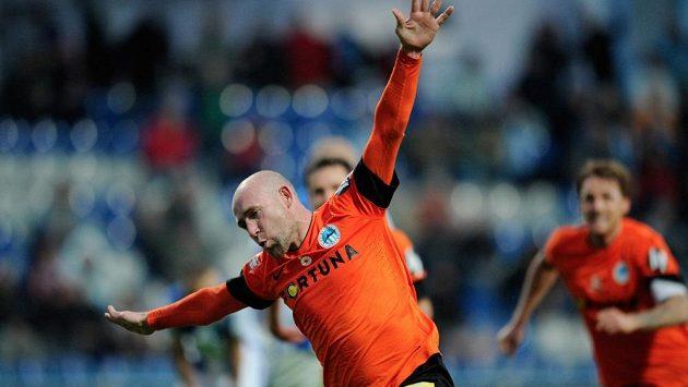 Liberecký Jiří Štajner se raduje z rozhodujícího gólu v utkání s Mladou Boleslaví.