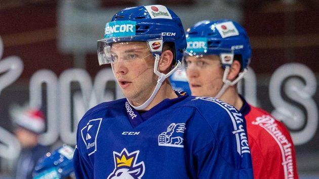 Dominik Mašín na tréninku české hokejové reprezentace.