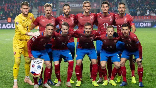 Mužstvo české fotbalové reprezentace před utkáním Ligy národů se Slovenskem.