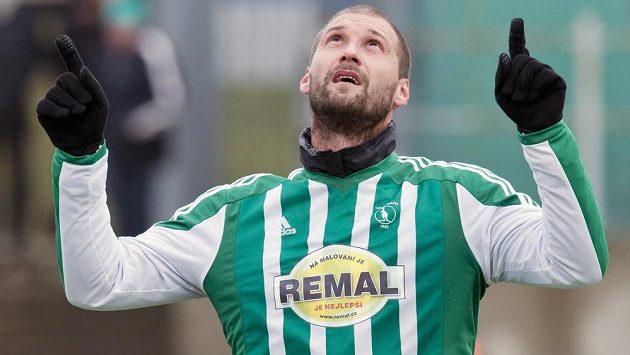 Útočník Bohemians 1905 Ivan Lietava se v utkání Tipsport ligy raduje z gólu proti Liberci.