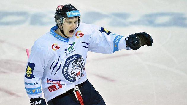 Michal Bulíř, autor úvodního gólu Liberce v prvním semifinále s Mladou Boleslaví.